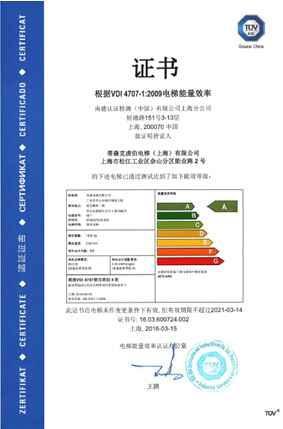 蒂森克虏伯尚途电梯RF1乘客电梯喜获A级能效认证